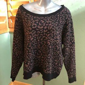 Free people leopard print crop sweater